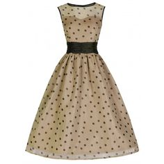 'Cindy' Classy Yet Sassy Coffee Polka Dot Print Vintage 50's Party... ($39) ❤ liked on Polyvore featuring dresses, beige, brown skater skirt, vintage circle skirt, polka dot dress, beige cocktail dress and brown dress