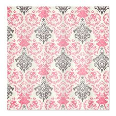 Pretty Pink and Gray Damask Shower Curtain