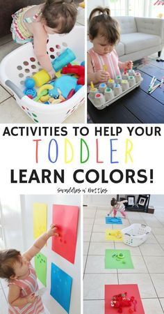 Fun Activities to Help Your Toddler Learn Colors! Fun Activities to Help Your Toddler Learn Colors!,Kids Activities to help your toddler learn their colors! A few of these are great for fine motor skills. Activities For 1 Year Olds, Toddler Learning Activities, Infant Activities, Preschool Activities, Teaching Toddlers Colors, Children Activities, Color Activities For Toddlers, Montessori Toddler, Toddler Color Learning