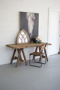 Industrial and rustic, The Recycled Wood Console offers a stylish surface for casual entryways and living spaces. This table features a saw horse base supporting an organic wooden tabletop, creating a stunningly simplistic silhouette! Farmhouse Furniture, Farmhouse Table, Rustic Furniture, Modular Furniture, Modern Farmhouse, Farmhouse Office, Furniture Ideas, Upcycled Furniture, Vintage Furniture