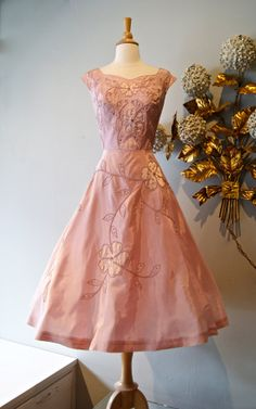 1950s Dress / Vintage 50's Blush Pink Beaded by xtabayvintage, $198.00