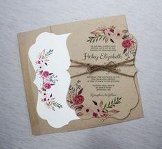 Modern Wedding Invitation Rustic Wedding by LoveofCreating on Etsy (Elegant Business Card Wedding Invitations)