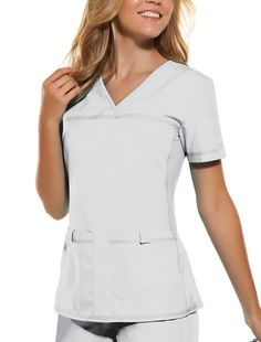 Description The classic Cherokee Flexibles solid top features a front yoke to maintain it's sporty fit, pockets on the front, stretching-knit side panels and a sporty, slimming look. Specs - Brushed 6