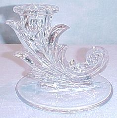 Baroque depression glass crystal candlestick by Fostoria. Made from 1936-1966