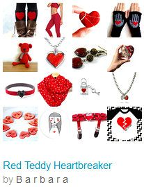 """☛ www.etsy.com/shop/paroliro """"Red Teddy Heartbreaker"""" features red heart holiday handmade fashions and accessories for the holidays by my talented fellow worldwide Etsians. [*Click on image to see all 16 items I chose and for full information]☚"""