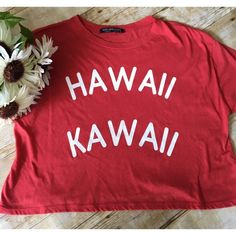 NWOT  Red Hawaii Kawaii Crop Tee Brand new without tags - multiple sizes Rock Rose Classic  Tops Crop Tops
