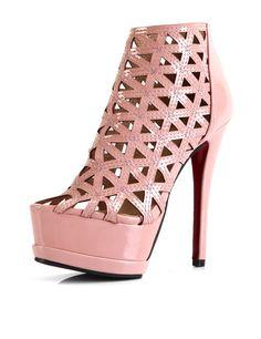 e0de9d818a99 Fashion Pink Hollow Out Platform Womens High Heels Pink Strappy Heels