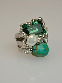 Turquoise , Man-Made Pearl and Green Swarovski