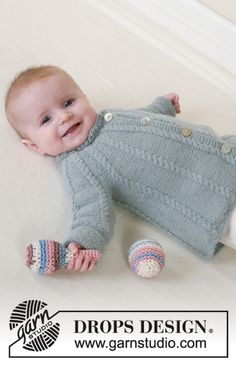 Baby - Free knitting patterns and crochet patterns by DROPS Design Baby Knitting Patterns, Free Baby Patterns, Baby Sweater Patterns, Baby Clothes Patterns, Knitting Kits, Knitting For Kids, Free Knitting, Crochet Patterns, Knit Baby Dress