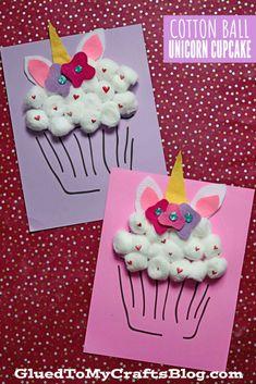 Unique Cotton Ball Unicorn Cupcake Craft Idea For Kids
