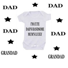 I'm cute mum's cute dad's lucky bodysuit or smelly dad & grandad or DESIGN YOUR OWN on Etsy, £5.99