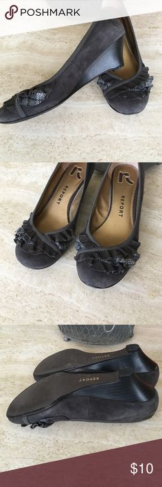 Gray suede wedge Worn but great condition. Gray suede with ruffle detail. About 2 in wedge Report Shoes
