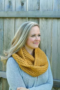 Cool Weather Infinity Scarf in Golden Rod by FountainTopCreations