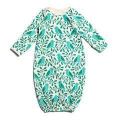 Baby Gown - Turquoise Birds & Berries