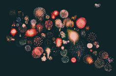 A collage of fireworks compiled from over 50 photos from a camera-phone.