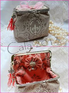 *Caprichos de Calabacina*: monederos y bolsos. Turn the purse onener on to its side abd mske a bag-box. Frame Purse, Diy Gift Box, Sewing Tutorials, Couture, Fashion Bags, Purses And Bags, Coin Purse, Handbags, Quilts