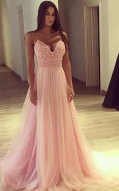 A Line Spaghetti Straps Pink Tulle V Neck Lace Appliques Sleeveless Long  Prom Dresses uk PW72 421abcfbe8b5