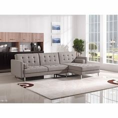 Divani Casa Smith Modern Brown Fabric Sectional Sofa -$1200