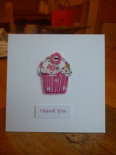 Hand made, stitched Cath Kidston fabric cupcake card