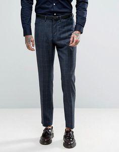 ASOS Slim Suit Pant In Navy Window Pane Check In 100% Wool - Navy