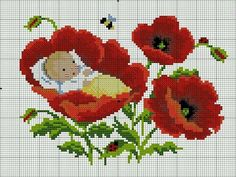 Baby in a poppy chart Baby Cross Stitch Patterns, Cross Stitch For Kids, Cute Cross Stitch, Cross Stitch Flowers, Cross Stitch Kits, Cross Stitch Charts, Cross Stitch Designs, Cross Stitching, Cross Stitch Embroidery