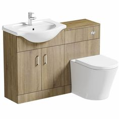 When space is at a premium, or you just like things to look sleek and efficient, the Sienna Oak Arc Combination Vanity Unit Small is the perfect solution. It features a built-in basin with handy storage space underneath, and a back to wall toilet with hidden cistern and a soft close seat.