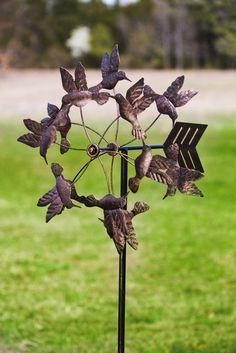 Antique Bronze Floating Hummingbirds Kinetic Garden Stake #GiftedLiving