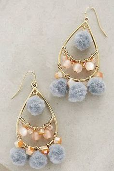 NEW Anthropologie Pommed Drops Chandelier Earrings Pink/Gray/Gold Capwell + Co Boho Earrings, Statement Earrings, Fashion Earrings, Earrings Handmade, Handmade Jewelry, Fashion Jewelry, Women Jewelry, Diy Gold Earrings, Chandelier Earrings