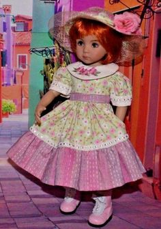 OOAK Pink & green floral dress & Straw Hat for Effner Little Darling | Dolls & Bears, Dolls, Clothes & Accessories | eBay!