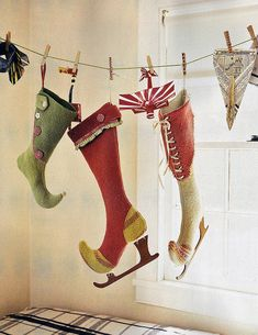Anthro Christmas stockings-- I want to learn how to make these! How cute! Just not cute enough to spend what I'm sure they cost..