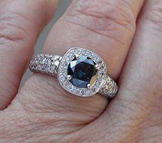 1 Carat Blue Diamond Solitaire with White Diamonds Ring - 14k White Gold $1599