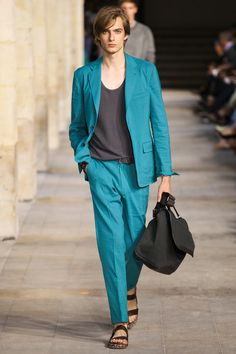 Love this aquamarine color! From: Hermès Spring 2014 Men's Collection
