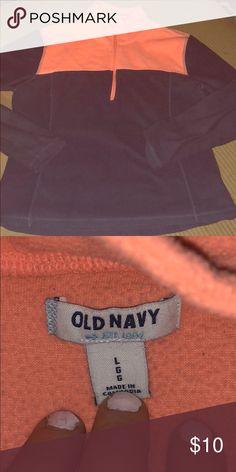 Old Navy fleece top EUC. Light weight fleece half zip top . Navy and bright peachy salmon color . Very cute color combo. Old Navy Tops Sweatshirts & Hoodies