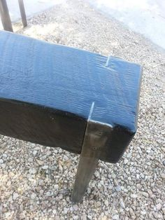 Upcycled wood beam and angle iron entryway bench by AK47Dezines