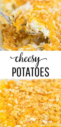 My favorite recipe for cheesy potatoes - aka funeral potatoes or cheesy potato casserole. This dish is so comforting, always a crowd pleaser and perfect for any holiday dinner. You'll love these delicious cheesy potatoes! Cheesey Potatoes Casserole, Recipe For Cheesy Potatoes, Easy Funeral Potatoes Recipe, Chessy Potatoes, Cheesy Hashbrowns, Baked Potatoes, Side Dish Recipes, Dinner Recipes, Side Dishes
