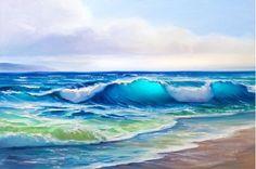 painting seascape, wave, illustration,picture acrylic paints on a. Ocean Art, Ocean Waves, Canvas Wall Art, Wall Art Prints, Lighted Canvas, Seascape Paintings, Beach Scenes, Beach Art, Painting Techniques