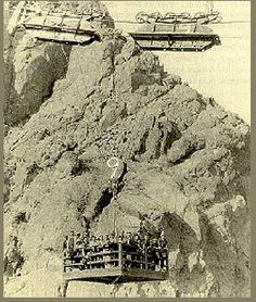 Men lowered into the dam 1932 Hoover Dam, Pittsburgh Steelers, Mount Rushmore, Vegas, Bridge, Mountains, Usa, Building, Classic
