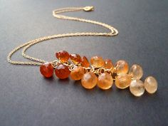 SALE - Falling into Autumn - Radiant Multicolored Hessonite Garnet Gemstone Onion Briolette and 14 kt Gold fill Necklace