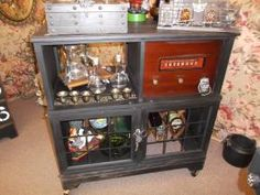 $165 - Up-cycled vintage Emerson radio liquor cabinet with plenty of storage! ***** In Booth H5 at Main Street Antique Mall 7260 E Main St (east of Power RD on MAIN STREET) Mesa Az 85207 **** Open 7 days a week 10:00AM-5:30PM **** Call for more information 480 924 1122 **** We Accept cash, debit, VISA,