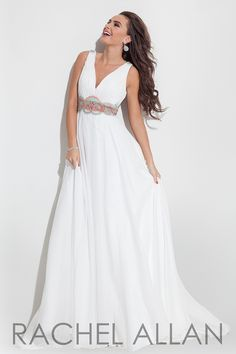 1134f8c4f68a Chiffon gown with V-neck, beaded belt and sheer back Rachel Allan White prom  dress at Ashley Rene's Elkhart, IN We ship nationwide.
