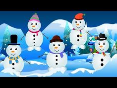 "Five little Snowmen Snowman Kids Tv Nursery Rhymes Lyrics of the nursery rhyme: ""Five little snowman jumping in the Snow, One fell off and bumped hi. Movement Songs For Preschool, Preschool Music, Kids Songs, Snowman Songs, Rhymes For Toddlers, Snowman Cartoon, Winter Thema, Winter Activities, Preschool Winter"