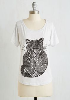 Truth or Derriere Top. Anyone with a feline friend can attest that a simple kitty hangout can end up seeming more like a game - and, this pale heather grey tee is a stylish representation of exactly that. #white #modcloth