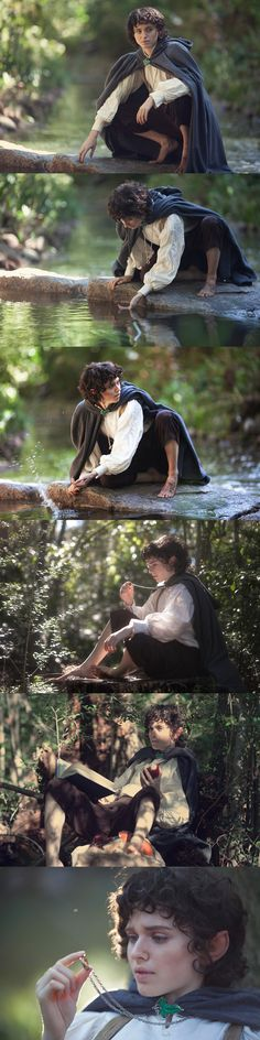 Frodo Baggins cosplay--- this cosplay is pretty incredible! not only does the person look quite a lot like the character from a distance, and the costume is spot on, but the scenery and style of the photos are perfect for the theme/character!