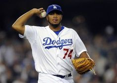 The Dodgers Kenley Jansen gets the save vs. the Cardinals on  May 20, 2012.