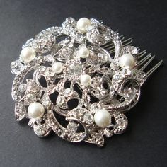 Pearl and Crystal Rhinestone Wedding Hair Comb, Vintage Inspired Bridal Hair Comb, Art Deco Wedding Hair Accessories, Old Hollywood, KAYLIE