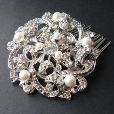 Pearl and Crystal Rhinestone Wedding Hair Comb, Vintage Inspired Bridal Hair Comb, Art Deco Wedding Hair Accessories, Old Hollywood, KAYLIE