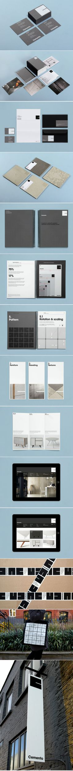 Brief: Design guidelines for a graphic identity and apply them across a set of startup deliverables for a new company, Cemento. Cemento is the UK distributor of an innovative Italian concrete veneer for wall panelling and furniture. The identity should po - created via http://pinthemall.net