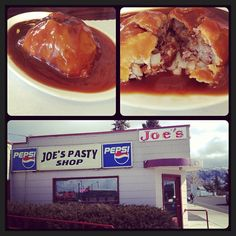 Check Out Joe\'s Pasty Shop in Butte, MT as seen on Man vs Food and featured on TVFoodMaps. Known for Butte is known for their meat pies using authentic recipes, but Joe's Pasty Shop is the only one that makes the ???The Chili Pasty,??%uFFFD a homemade pastry shell filled with ground steak, potatoes and onions.
