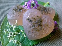 Lavender & White Thyme Glycerin Heart Soap by WillowCreekCraftShop