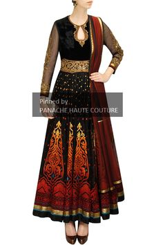 Black Colour Anarkali in applique and hand embroidery. For further details please contact us on WhatsApp +61-470219564